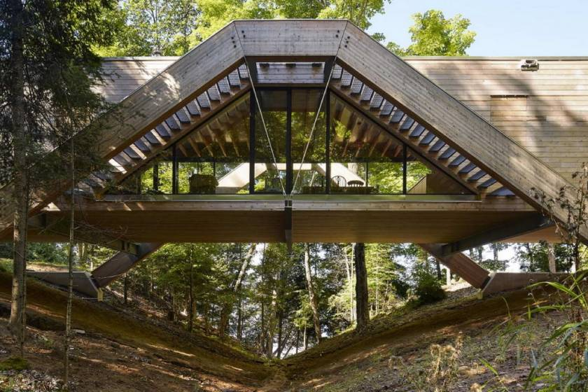 Bridge house in Canadian forest